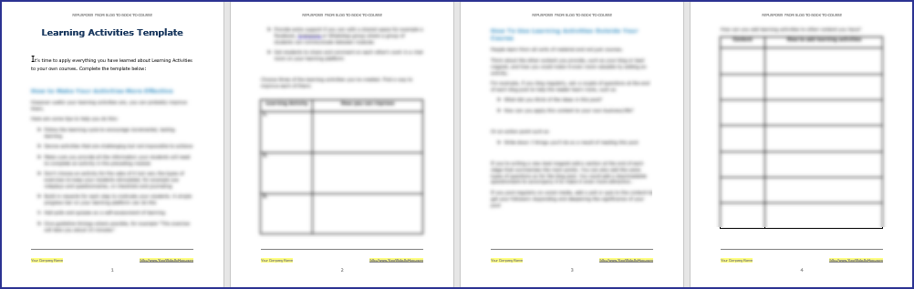 Learning Activities Template
