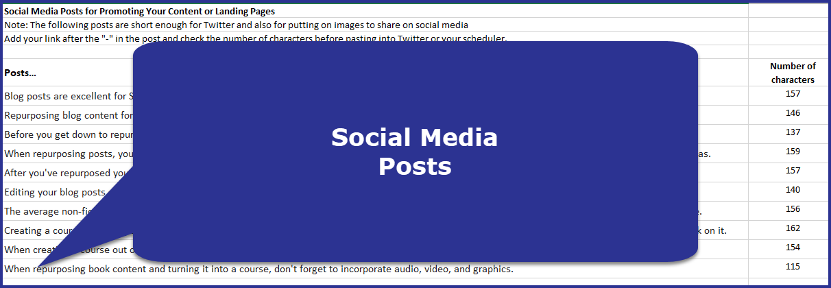 Repurpose From Blog to Book to Course - Social Media Posts