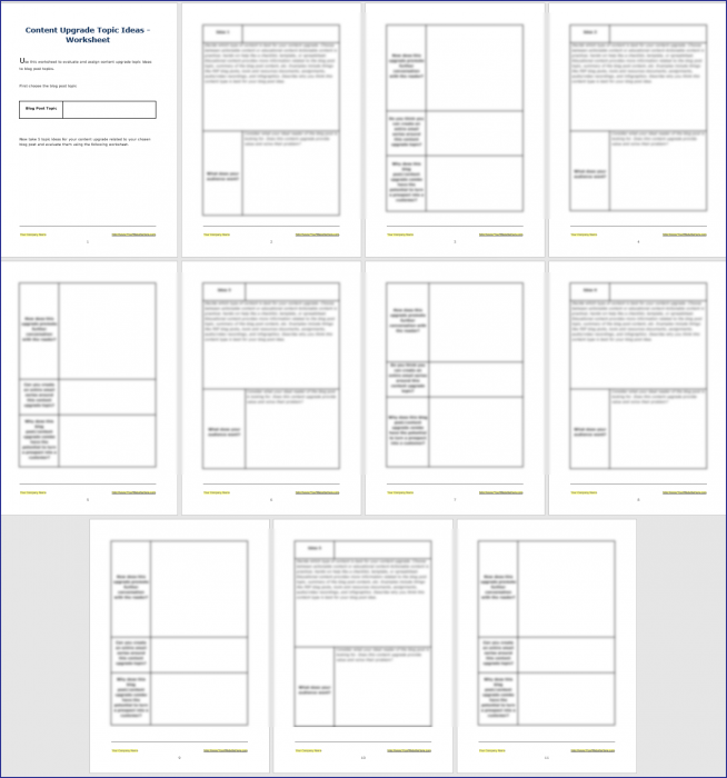 Attract Quality Leads with Content Upgrades - Content Upgrade Ideas Worksheet