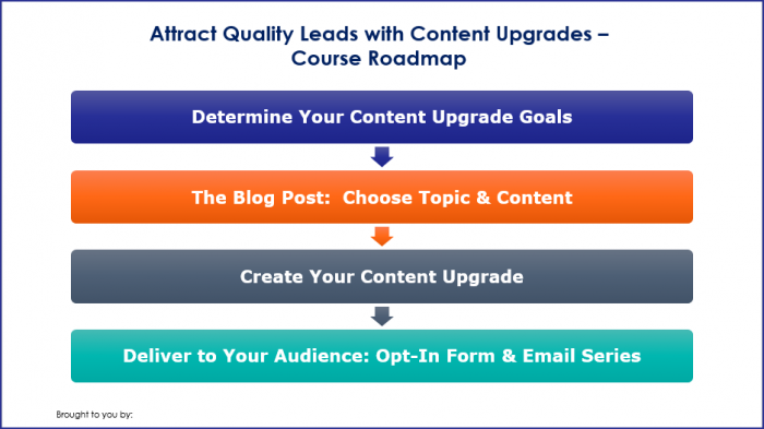 Attract Quality Leads with Content Upgrades - Course Roadmap