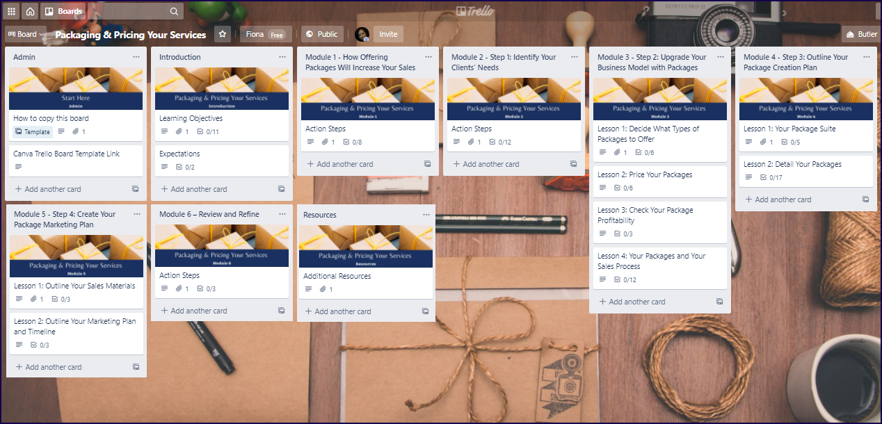 Packaging Pricing Your Services Upgrade Pack Trello Board