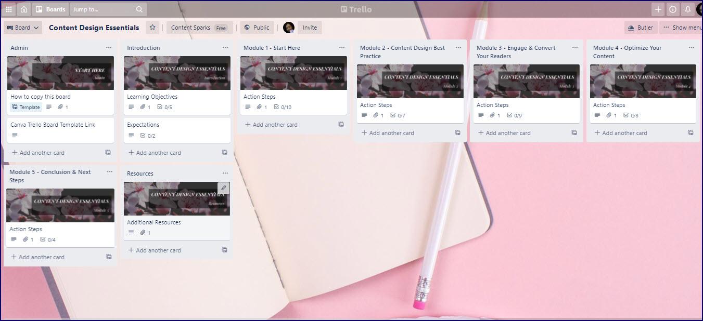 Content Design Essentials Trello Board