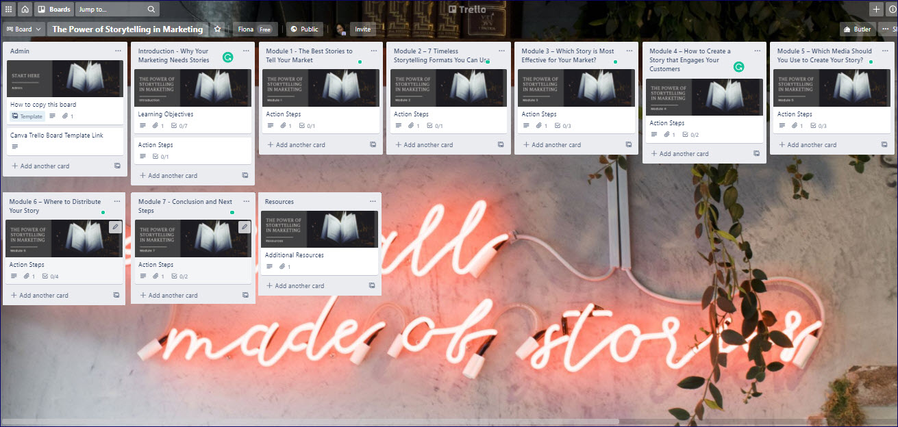 The Power of Storytelling in Marketing Trello Board
