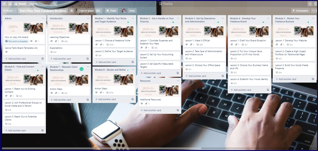 Start Your Own Freelance Business Upgrade Trello Board