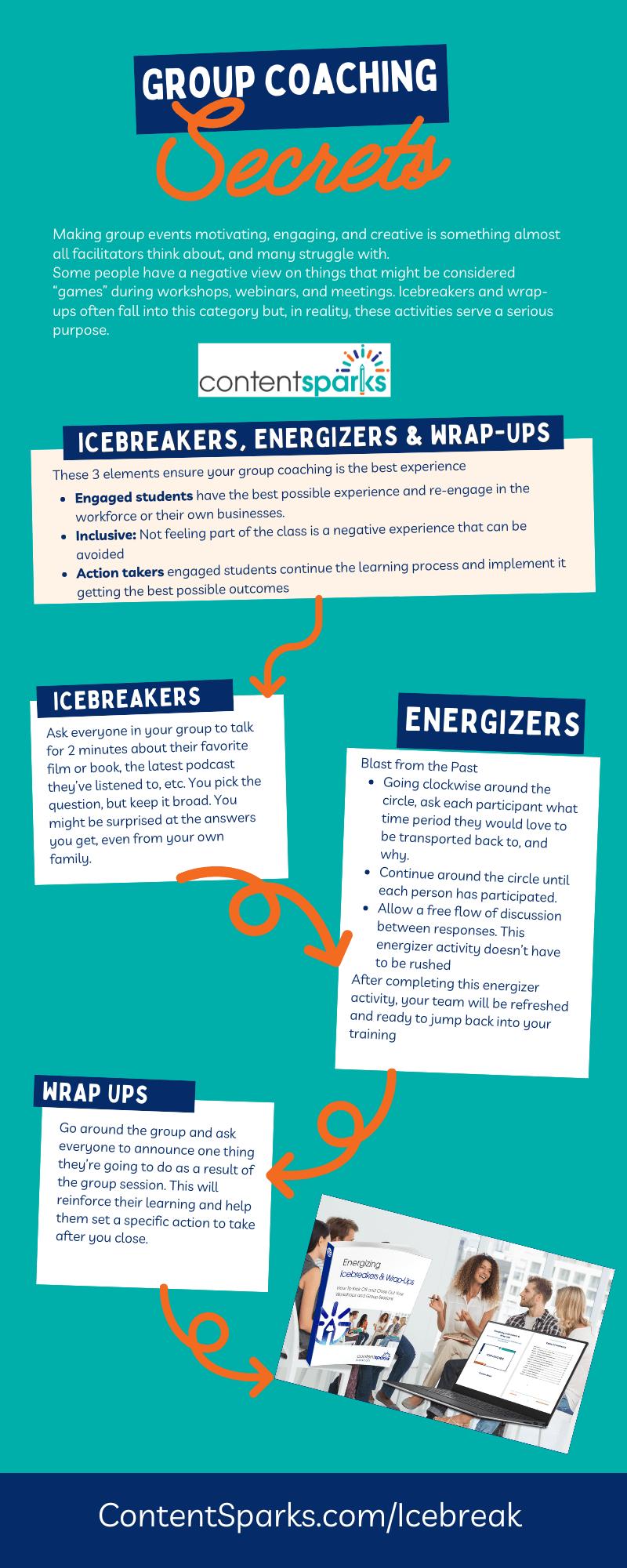 Group coaching icebreaker infographic